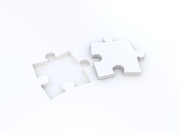 白地にダブルパズル。 3dイラスト