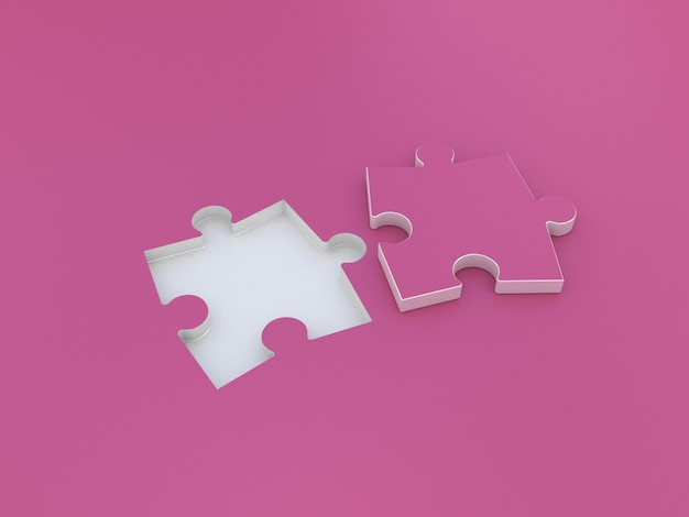 Puzzle double on pink. 3d illustration