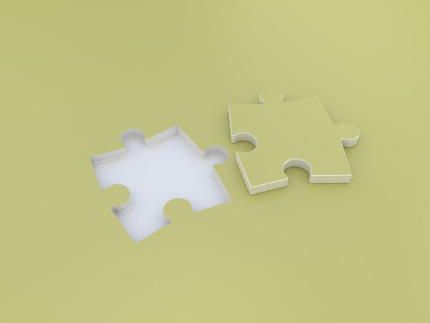 Puzzle double on yellow. 3d illustration