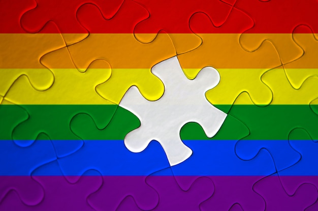 Puzzle of the lgbt pride flag incomplete