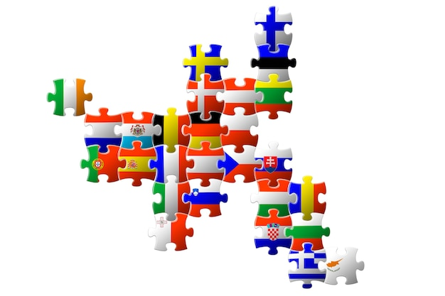 Eu諸国のパズルマップ。 eu諸国の旗。ヨーロッパの統一。デザインのコンセプト。 3d画像。