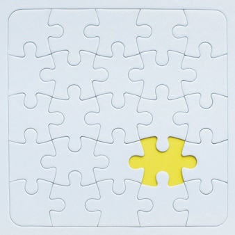 Puzzle Mockup With Yellow Piece