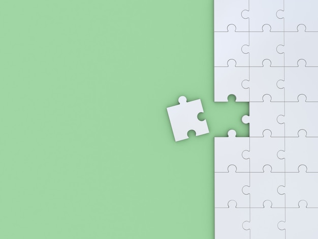 緑のパズル。 3dイラスト