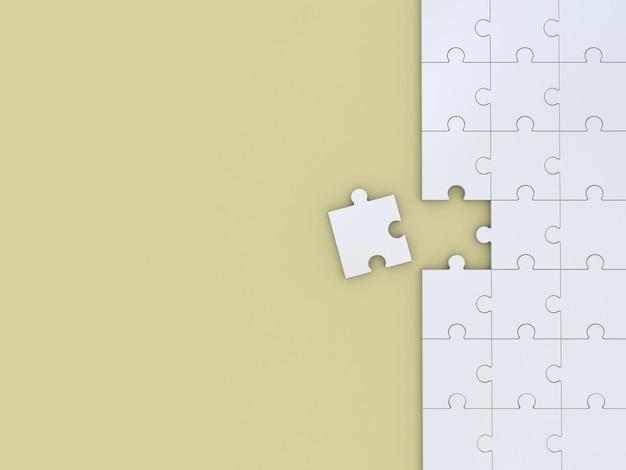 黄色のパズル。 3dイラスト