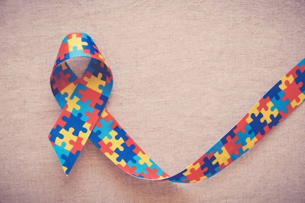 Puzzle ribbon for autism awareness