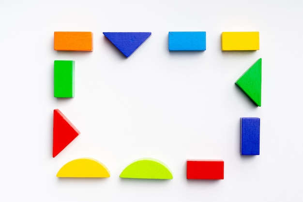 Puzzle toy for kid in creative education concept in flat lay