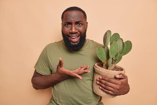 Озадаченный недовольный бородатый мужчина поднимает ладонь возмущенно смотрит на камеру, держит кактус в горшке, не знает, как о нем заботиться, носит повседневную футболку, изолированную на бежевой стене