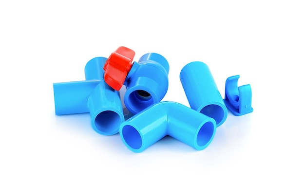 Pvc ball valve and pipe on white.