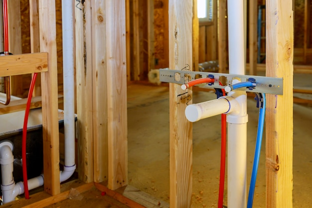 Pvc pipe connections assemble and install water drain under the bathroom sink