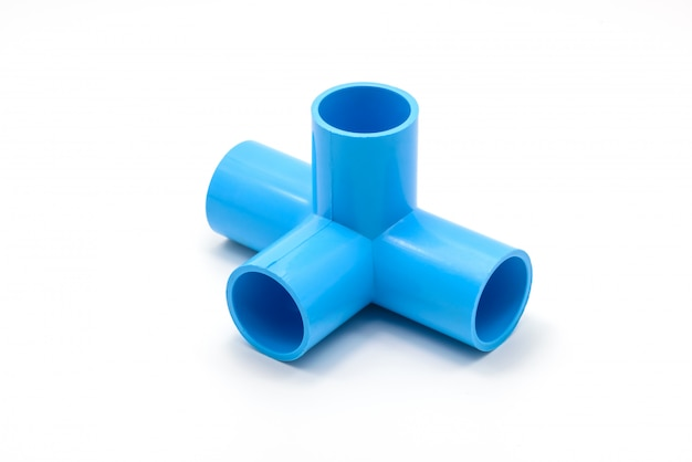Pvc pipe connections and pipe clip isolated