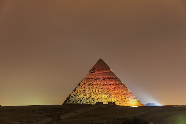 The pyramid of chephren night view in the lights, giza.
