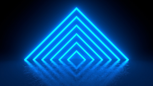 Pyramid consisting of blue neon glowing light stripes on black background.