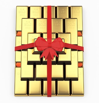 Pyramid of gold bars as a gift