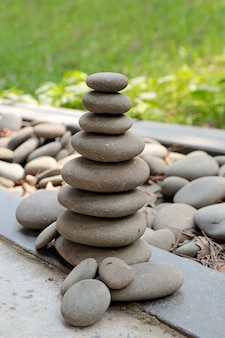 Pyramid of large gray pebbles. beauty and harmony in nature.
