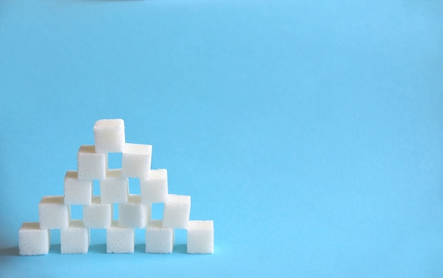 Pyramid made from cubes of refined white sugar