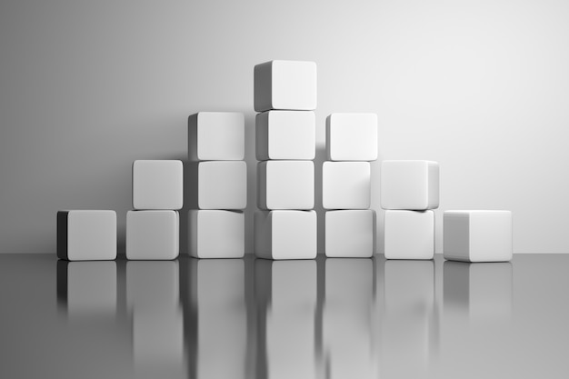 Pyramid made of white plain cubes boxes