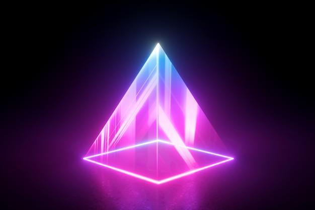 블랙에 고립 된 네온 빛의 피라미드입니다.