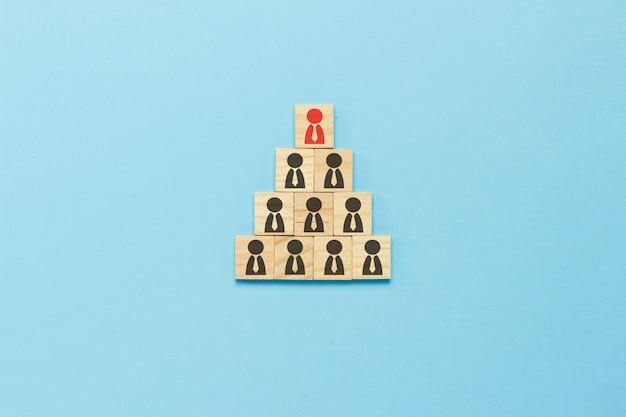 Пирамида из деревянных пластин с иконами людей со связями на синем фоне. концепция корпорации, схема компании, пирамида, корпоративный рост, продвижение, увольнение. плоская планировка, вид сверху.
