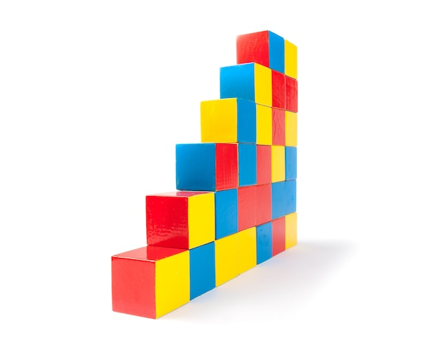 Pyramid of toy cubes