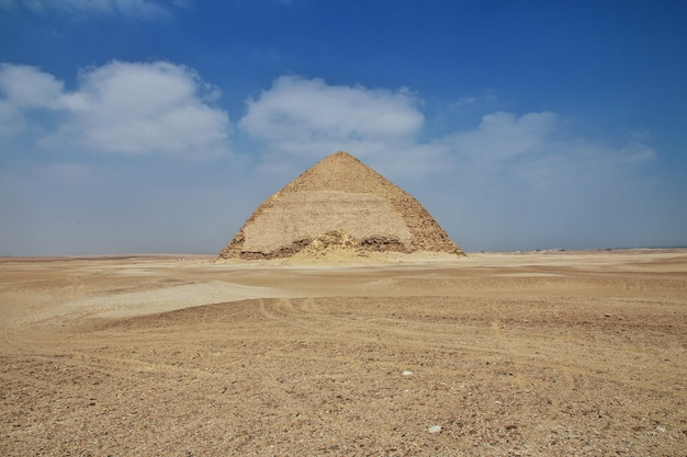 Pyramids dahshur in sahara desert of egypt