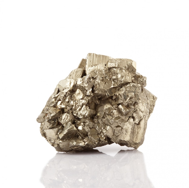 Pyrite crystals on white