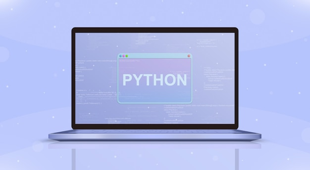 Значок python на экране ноутбука вид спереди 3d