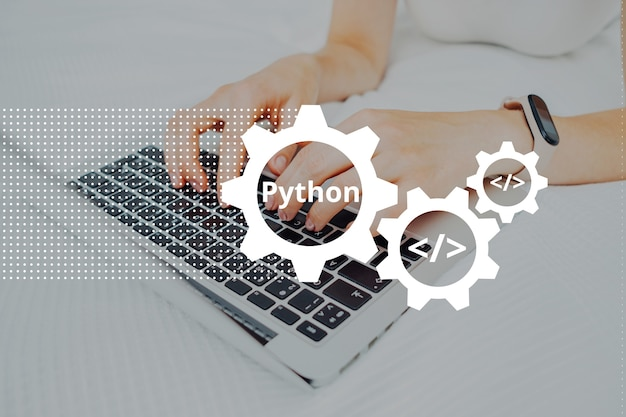 Python programming code language learning concept with person and laptop.