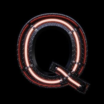 Неоновый свет буква q с красными неоновыми огнями.