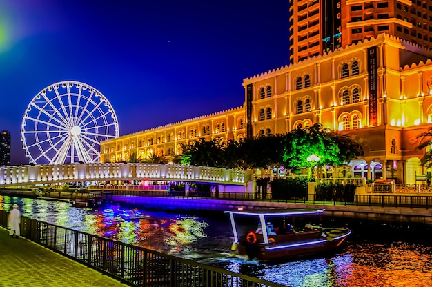 Qanat al qasba sharjah  third largest and most populous city in united arab emirates