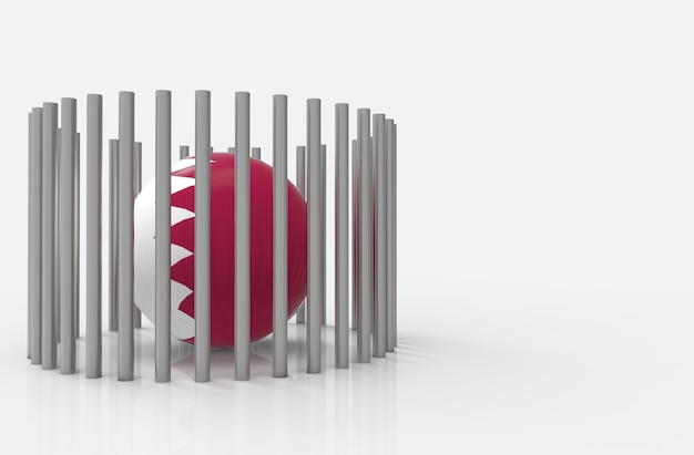 Qatar country flag ball surround by steel pipes. qatar diplomatic crisis concept.