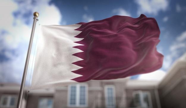 Qatar flag 3d rendering on blue sky building background