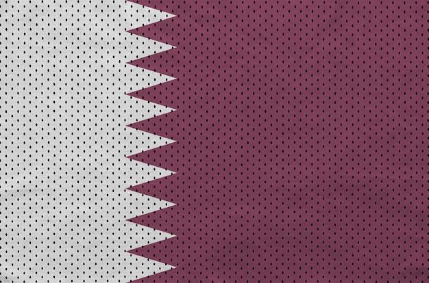 Qatar flag printed on a polyester nylon sportswear mesh fabric