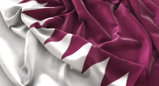 Qatar flag ruffled beautifully waving macro close-up shot