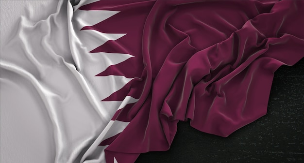 Qatar flag wrinkled on dark background 3d render