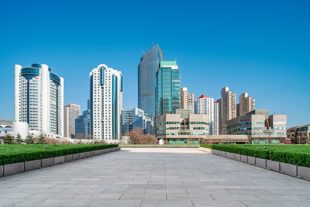 Qingdao city skyline and square floor tile building landscape