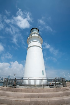 Qingdao coastline white lighthouse and beautiful architectural landscape