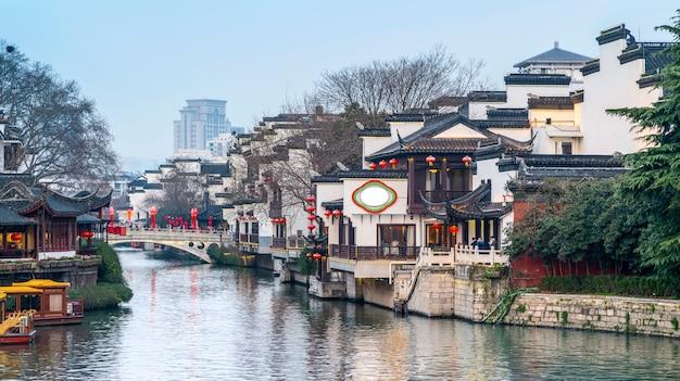 南京のqinhuai川の古代建築景観