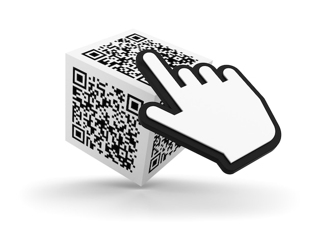 Qr code on cube with computer cursor