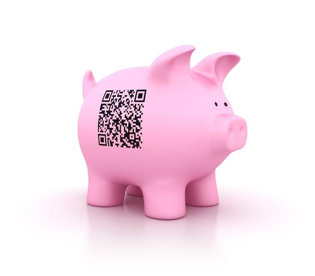 Qr code on piggy bank