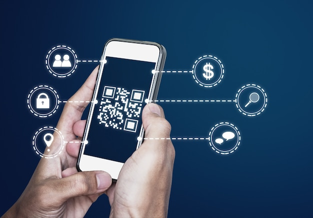 Qr code technology scanning payment and id verification by qr code on mobile smart phone