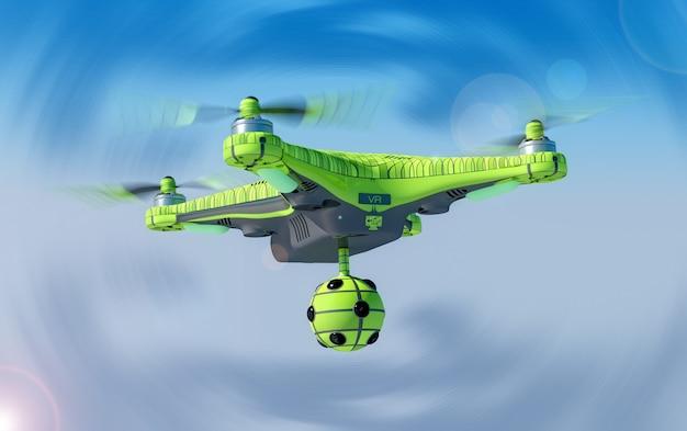 Квадрокоптер с камерой виртуальной реальности, концепция 3d.