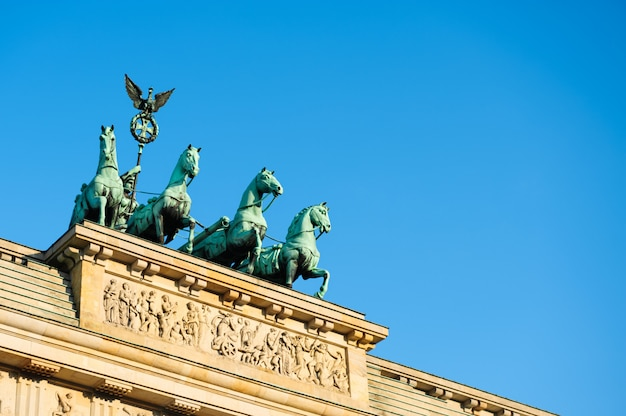 Quadriga on top of brandenburg gate in berlin