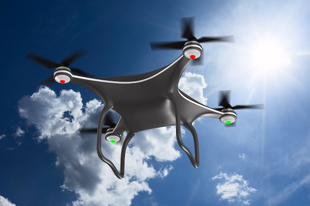 Quadrocopter on clouds sky. 3d illustration