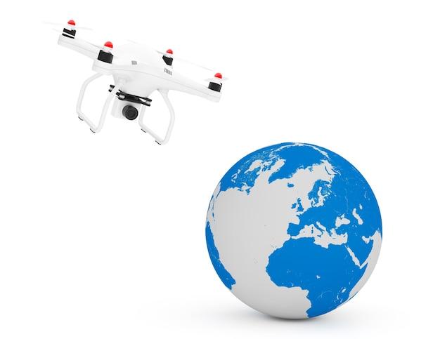 Квадрокоптер drone, летящий около земного шара на белом фоне. 3d рендеринг