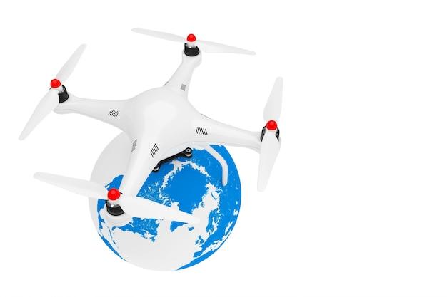 Квадрокоптер drone с земным шаром на белом фоне. 3d рендеринг