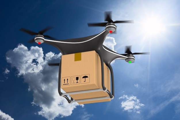 Quadrocopter with cargo box on clouds sky. 3d illustration