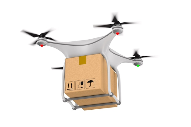 Quadrocopter with cargo box on white. isolated 3d illustration