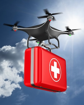 Quadrocopter with first aid kit on clouds sky. 3d illustration