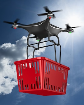 Quadrocopter with shopping basket on on clouds sky. 3d illustration