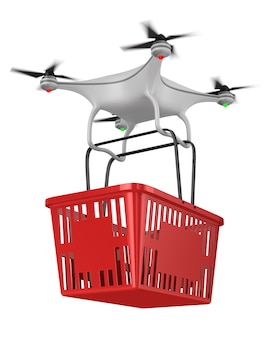 Quadrocopter with shopping basket on white. isolated 3d illustration